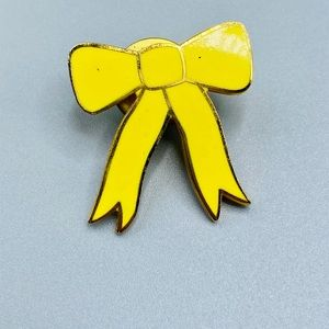 Vintage 1990 Yellow Bow Tie Pin Brooch